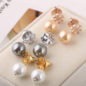 Tory Burch Pearl Letter Earrings